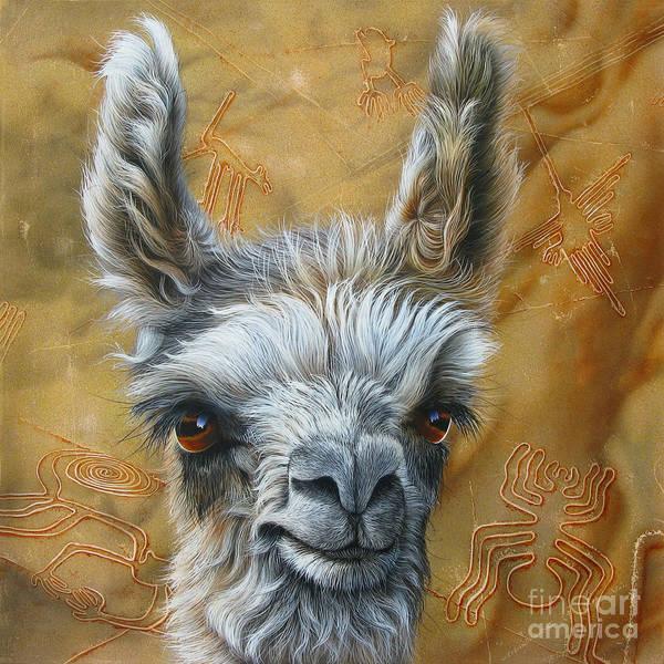 Lama Poster featuring the painting Llama Baby by Jurek Zamoyski