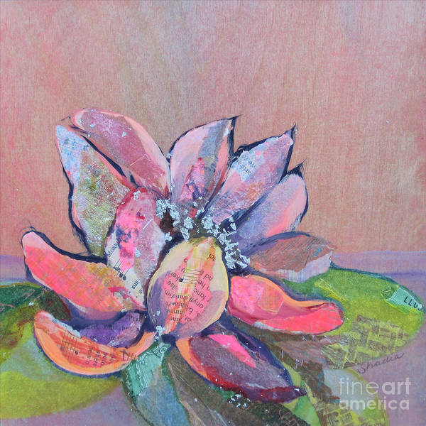 Pink Flower Poster featuring the painting Lotus Iv by Shadia Derbyshire