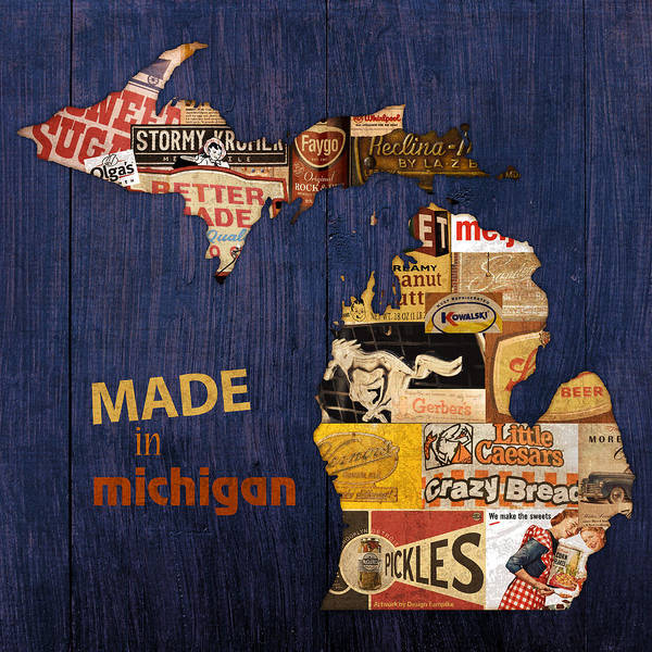 Made in michigan products vintage map on wood poster by design turnpike made in michigan products vintage map on wood kelloggs better made faygo ford chevy gm little gumiabroncs Image collections
