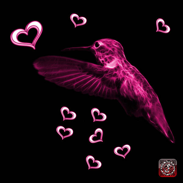 Hummingbird Poster featuring the digital art Magenta Hummingbird - 2055 F by James Ahn