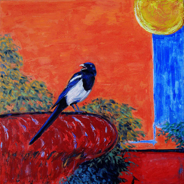 Magpie Poster featuring the painting Magpie Singing At The Bath by Xueling Zou