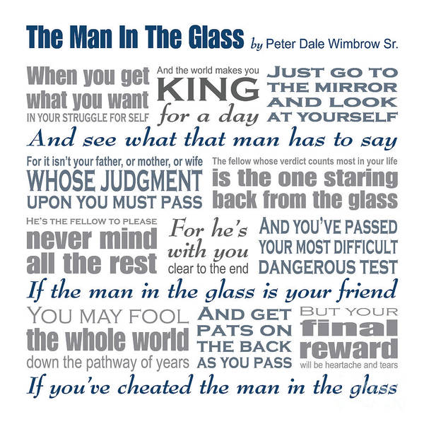 The Man In The Glass Poster featuring the digital art The Man In The Glass Poem by Ginny Gaura