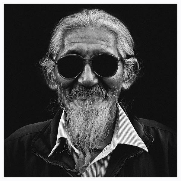Black And White Portrait Poster featuring the photograph Man With White Beard by Sonam Phintso Bhutia