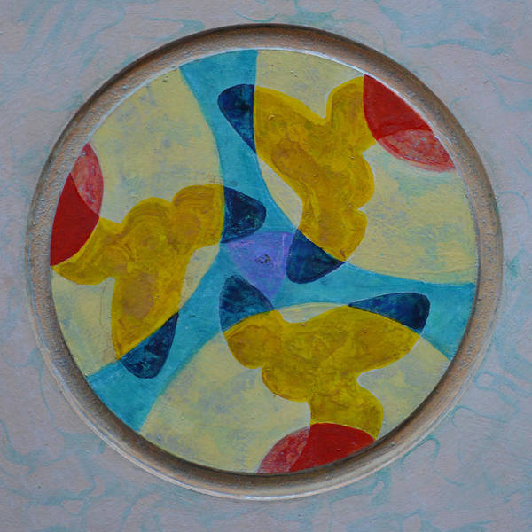 Mandala Round Circle White Blue Yellow Red Thirds Abstract Outsider Modern Raw Folk Poster featuring the painting Mandala 4 by Nancy Mauerman