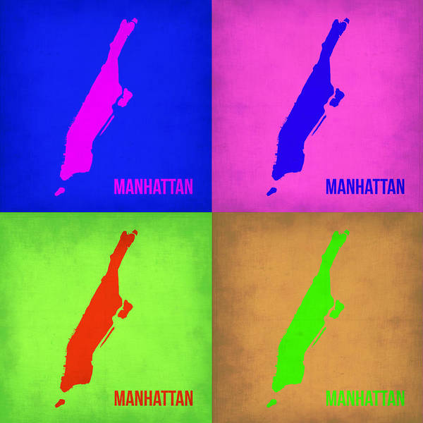 Manhattan Map Poster featuring the painting Manhattan Pop Art Map 1 by Naxart Studio