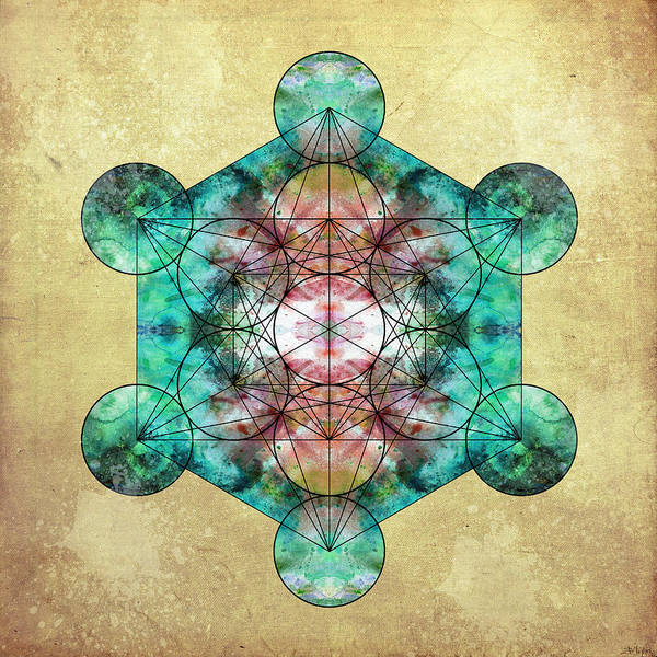 Metatron Poster featuring the digital art Metatron's Cube by Filippo B