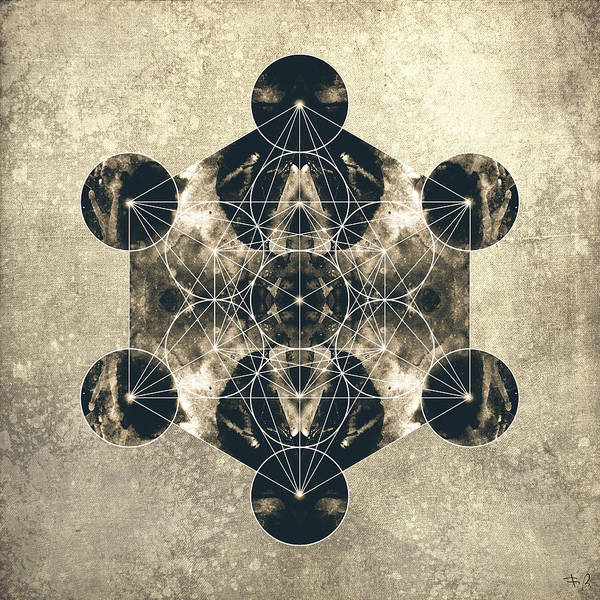 Metatron Poster featuring the digital art Metatron's Cube Silver by Filippo B