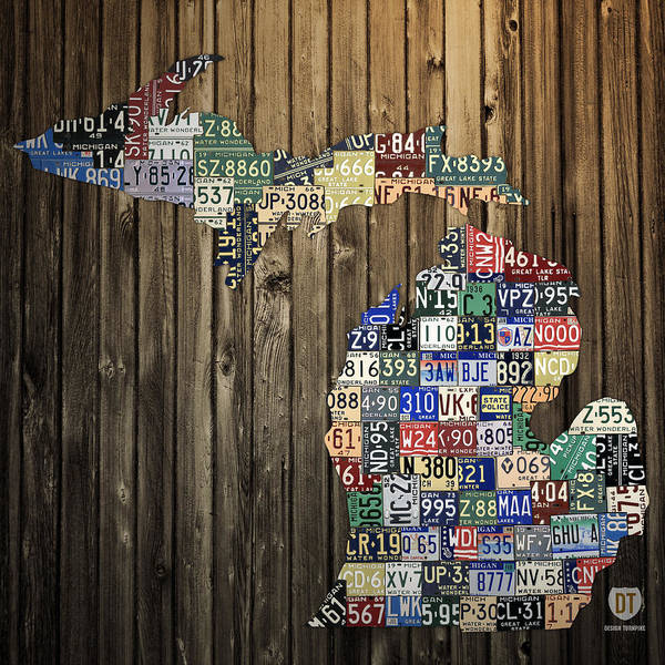 Michigan Poster featuring the mixed media Michigan Counties State License Plate Map by Design Turnpike