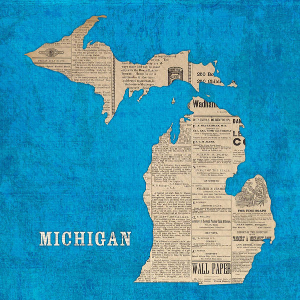 Michigan Map Made Of Vintage Newspaper Clippings On Blue Canvas