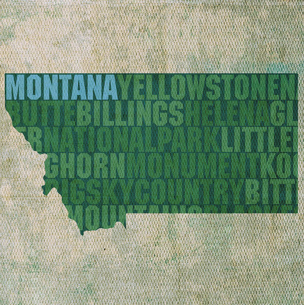 Montana Word Art State Map On Canvas Helena Butte Billings Big Sky Country Usa Shape Poster featuring the mixed media Montana Word Art State Map On Canvas by Design Turnpike