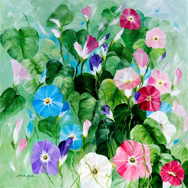 Blue Morning Glories Poster featuring the painting Morning Glory Bouquet by Linda Rauch
