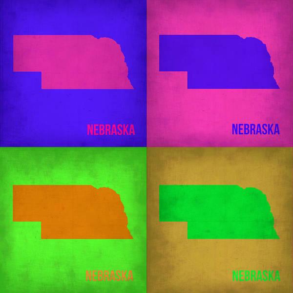 Nebraska Map Poster featuring the painting Nebraska Pop Art Map 1 by Naxart Studio