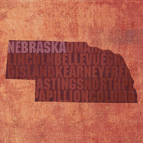 Nebraska Word Art State Map On Canvas Poster featuring the mixed media Nebraska Word Art State Map On Canvas by Design Turnpike