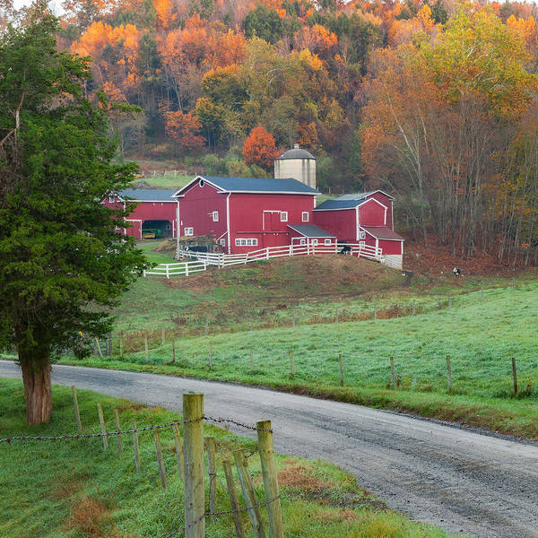 Farm Poster featuring the photograph New England Farm Square by Bill Wakeley