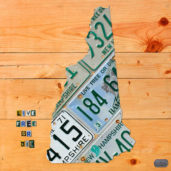 New Poster featuring the mixed media New Hampshire License Plate Map Live Free Or Die Old Man Of The Mountain by Design Turnpike