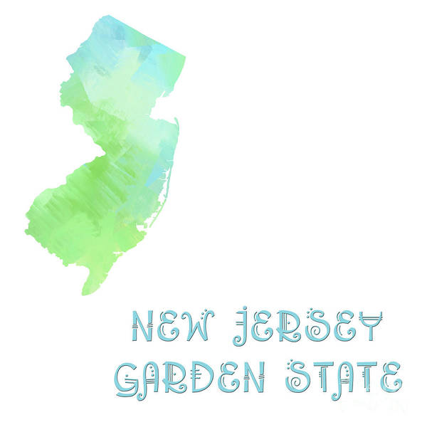 Andee Design Poster featuring the digital art New Jersey - Garden State - Map - State Phrase - Geology by Andee Design