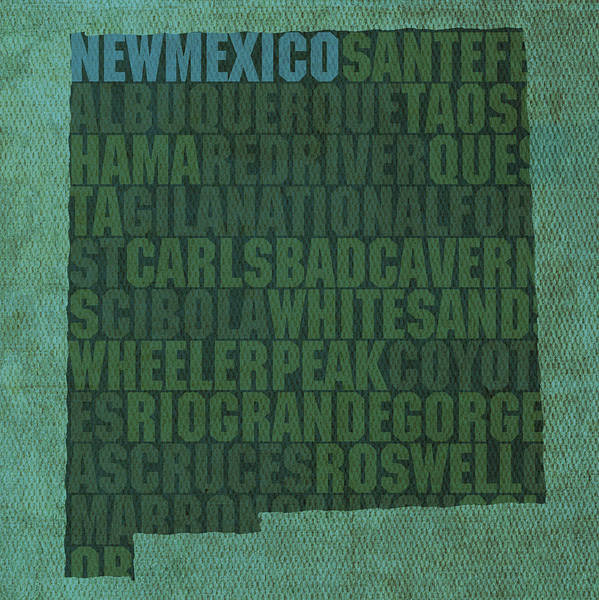 New Mexico Word Art State Map On Canvas Carlsbad Caverns Albuquerque Las Cruces Taos Sante Fe Poster featuring the mixed media New Mexico Word Art State Map On Canvas by Design Turnpike