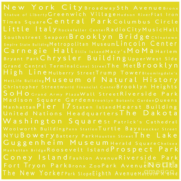 City Poster featuring the digital art New York City In Words Yellow by Sabine Jacobs
