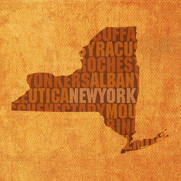 New York Word Art State Map On Canvas Poster featuring the mixed media New York Word Art State Map On Canvas by Design Turnpike