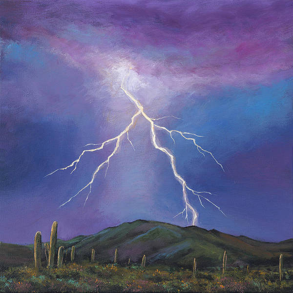 Lightning Poster featuring the painting Night Strike by Johnathan Harris