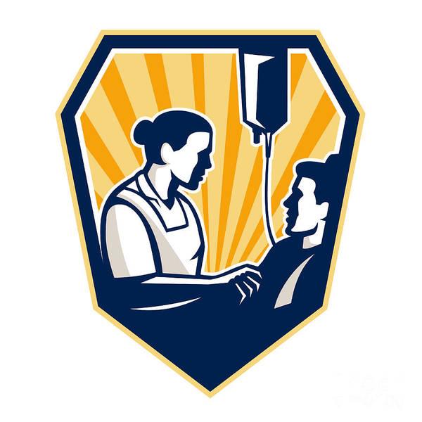 Nurse Poster featuring the digital art Nurse Tending Sick Patient Retro by Aloysius Patrimonio