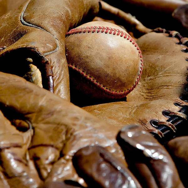 American Poster featuring the photograph Old Baseball Ball And Gloves by Art Block Collections