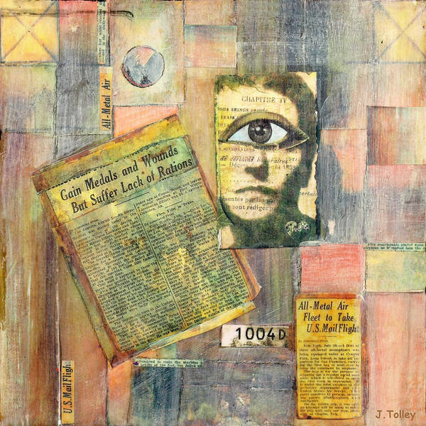Surreal Poster featuring the mixed media Old News by Judy Tolley