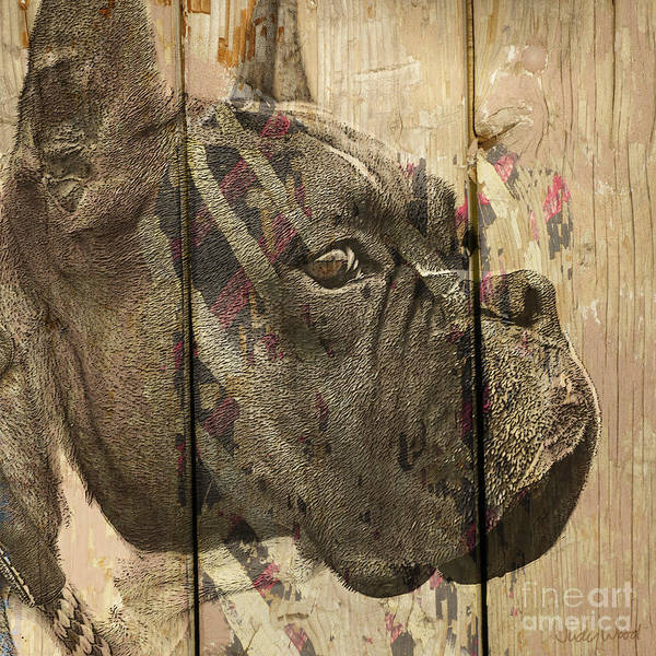 Boxer Dog Poster featuring the digital art On The Fence by Judy Wood