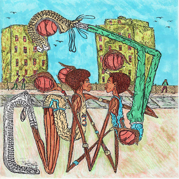 Hoops Poster featuring the mixed media One On One by Richard Hockett