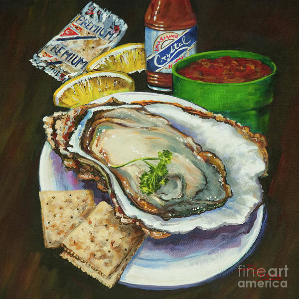 Oyster Poster featuring the painting Oyster And Crystal by Dianne Parks