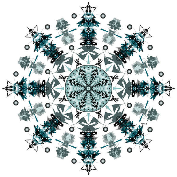 Tribal Poster featuring the digital art P2 Mandala by Phil Perkins
