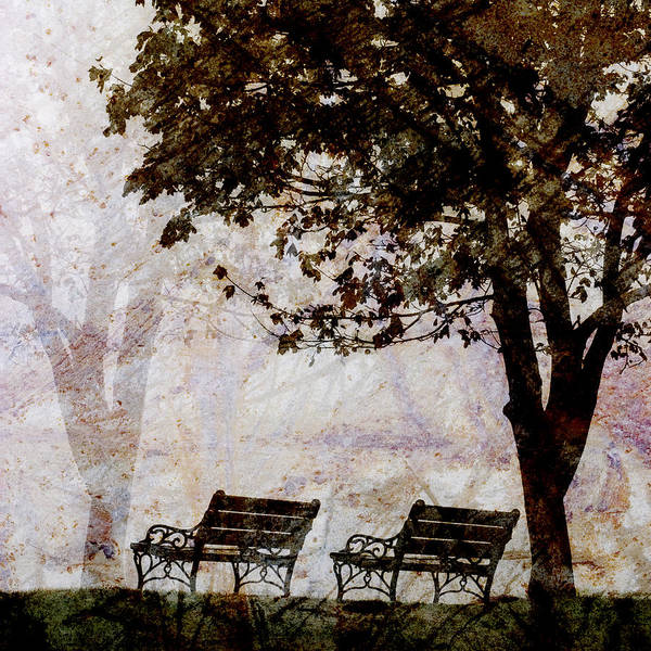 Two Poster featuring the photograph Park Benches Square by Carol Leigh