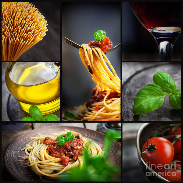 Pasta Poster featuring the photograph Pasta Collage by Mythja Photography