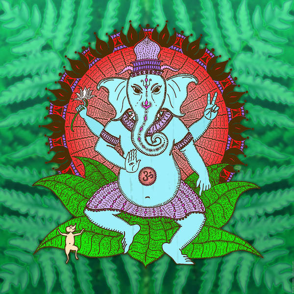 Mandala Poster featuring the digital art Peace Ganesh Dancing by Peter Barreda