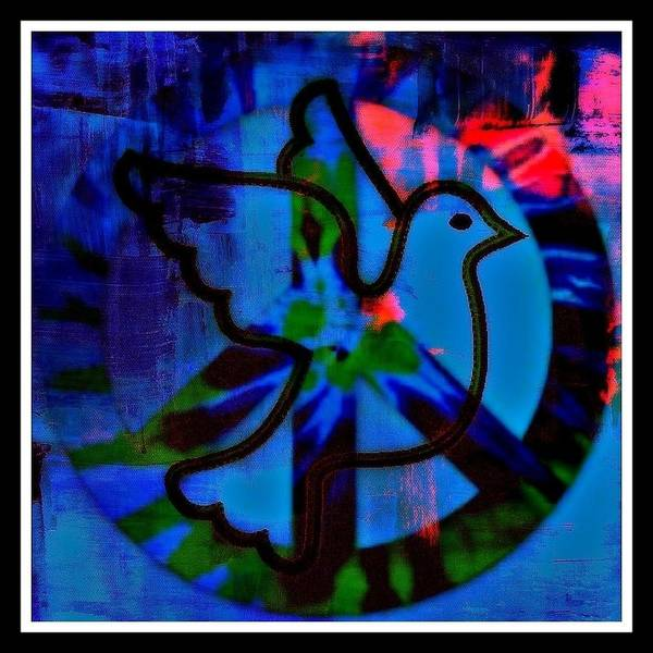 Peace Poster featuring the mixed media Peace Series 6 by Wendie Busig-Kohn
