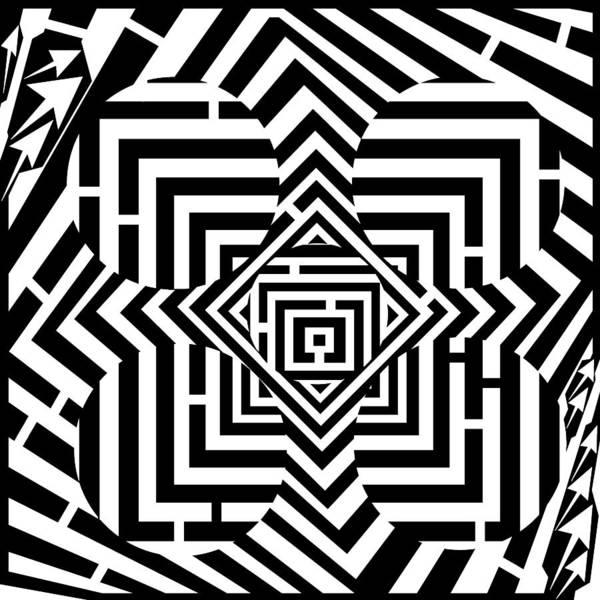 Pentagram Poster featuring the drawing Penta Spheres Maze by Yonatan Frimer Maze Artist