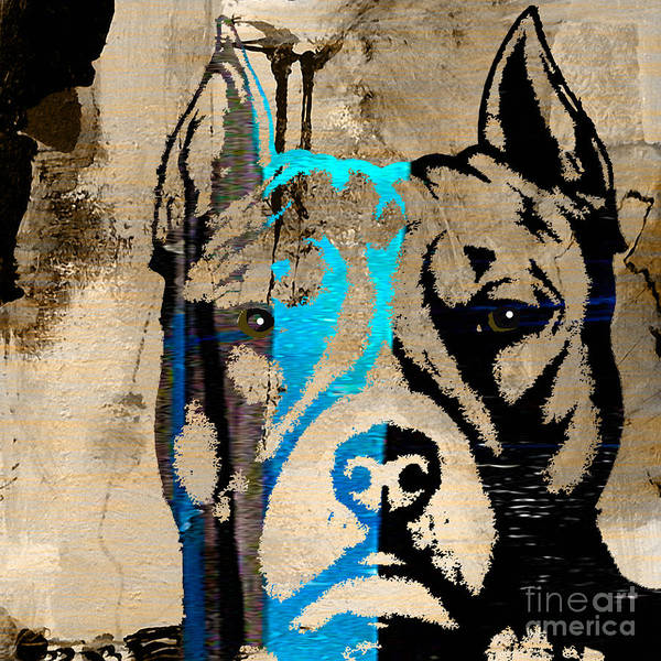 Pitbull Poster featuring the mixed media Pitbull by Marvin Blaine