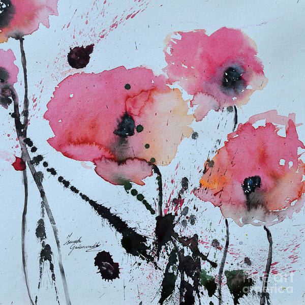 Poppies Poster featuring the painting Poppies- Painting by Ismeta Gruenwald