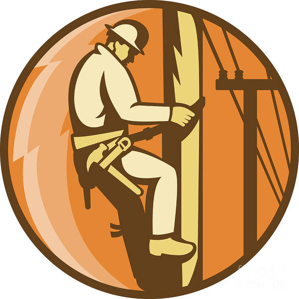 Illustration Poster featuring the digital art Power Lineman Electrician Climbing Utility Post by Aloysius Patrimonio