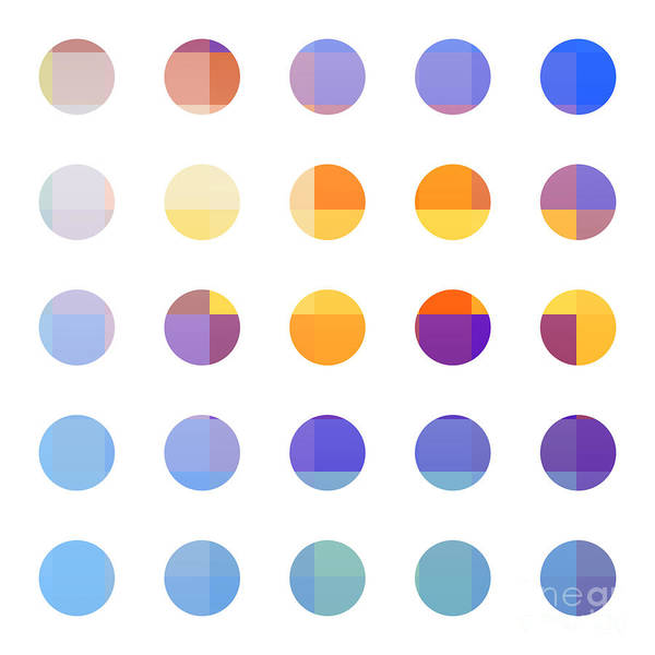 Abstract Poster featuring the painting Rainbow Dots by Pixel Chimp