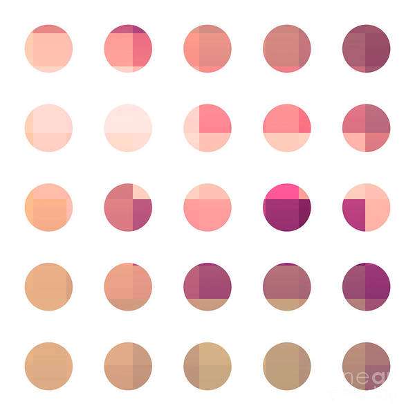 Abstract Poster featuring the painting Rainbow Dots Rose by Pixel Chimp