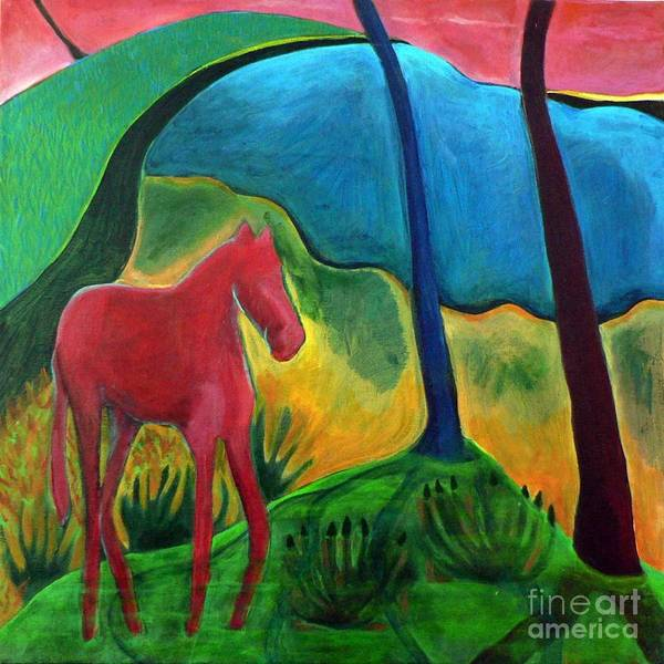 Red Horse Poster featuring the painting Red Horse by Elizabeth Fontaine-Barr