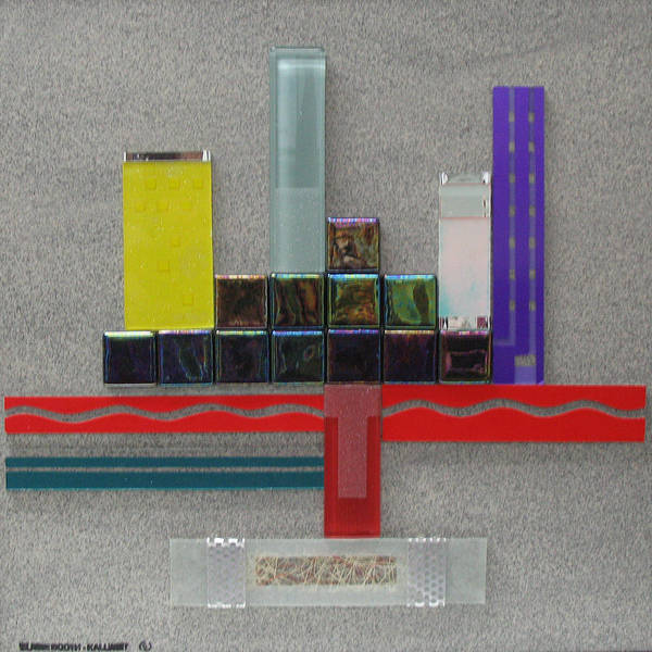 Assemblage Poster featuring the relief Red River City by Elaine Booth-Kallweit