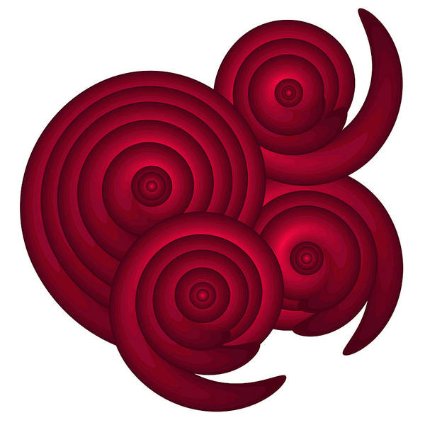 Red Poster featuring the painting Red Spirals by Frank Tschakert
