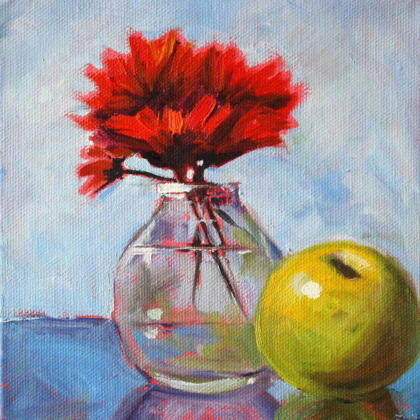 Red Flowers Poster featuring the painting Red Still by Nancy Merkle