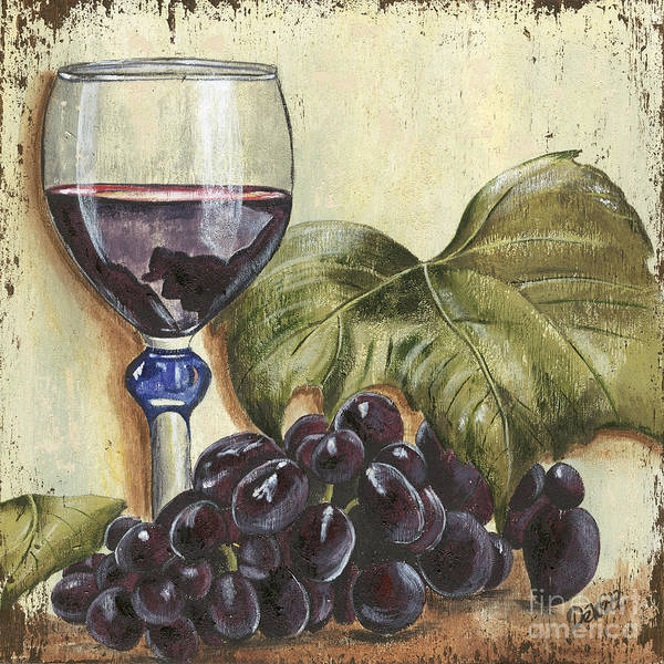 Wine Poster featuring the painting Red Wine And Grape Leaf by Debbie DeWitt