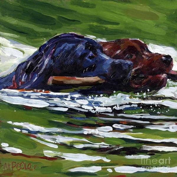 Black Lab Poster featuring the painting River Run by Molly Poole