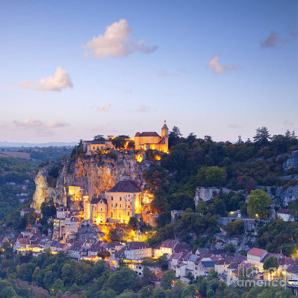 France Poster featuring the photograph Rocamadour Midi-pyrenees France Twilight by Colin and Linda McKie