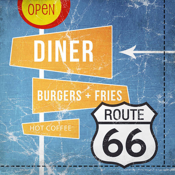 Diner Poster featuring the painting Route 66 Diner by Linda Woods