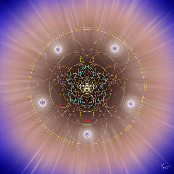 Endre Poster featuring the digital art Sacred Geometry 260 by Endre Balogh